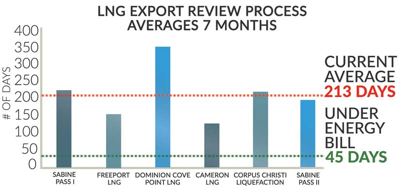 Energy export chart - number of days for approval
