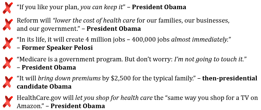 Obamacare False Promises