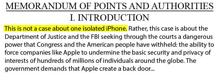 Apple argument against Court Order