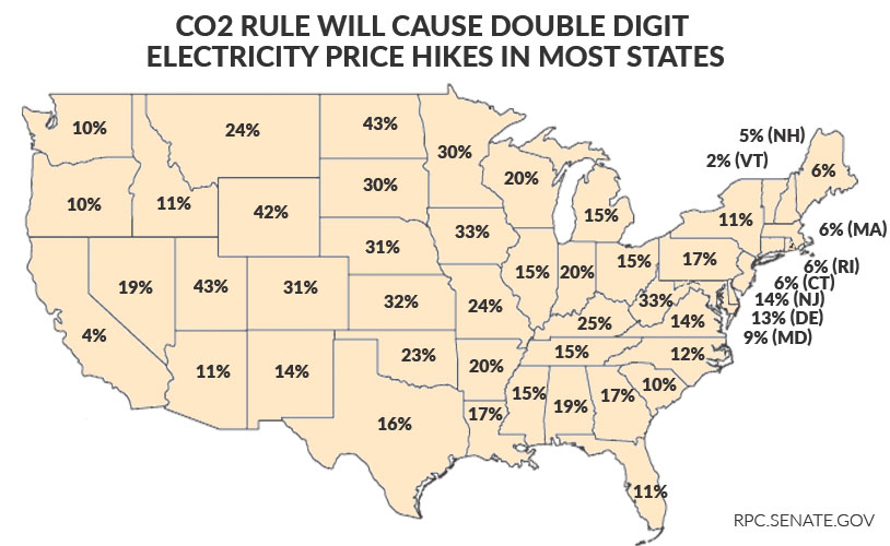 CO2 Rule Double Digit Price Hikes Map - rates
