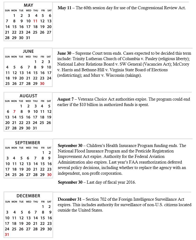 Policy Calendar