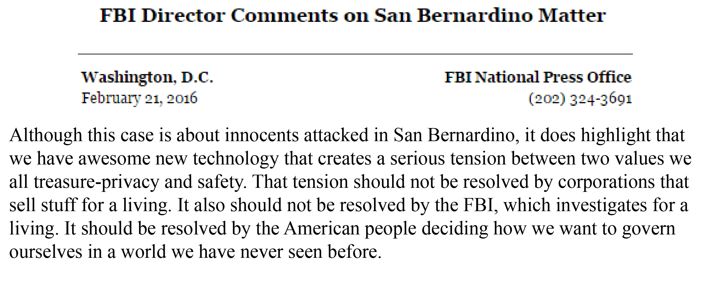 FBI Director San Bernardino press release