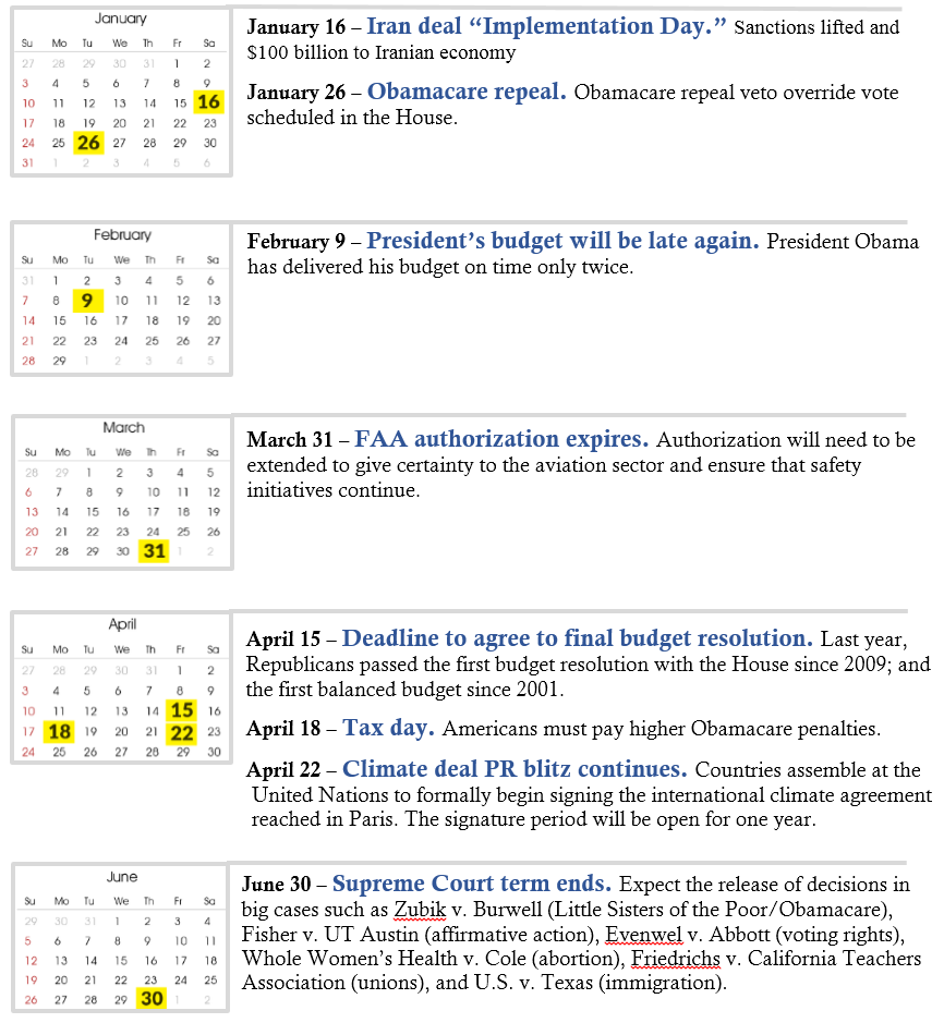 Policy Calendar first part of 2016